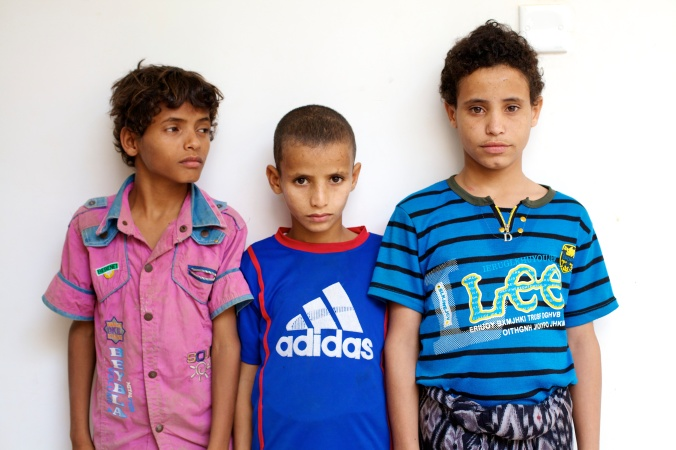 Three children smuggled and smugglers themselves in the orphanage of Harath, Yemen, 2014